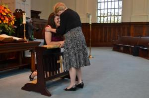 Pam praying over me at my ordination.