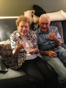 Grandma and Grandpa give two thumbs up!