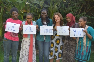 Missy posing with students at Amani Sasa, courtesy CBF